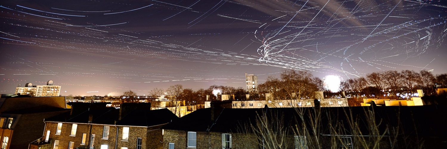 New Year's Eve night sky above Dalston